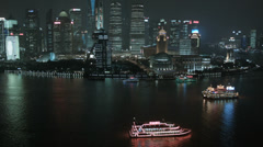 Financial District Shanghai Tourist Cruise Boats Huangpu River China - stock footage