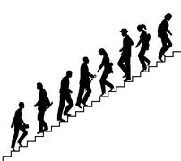 Stair walkers Stock Illustration