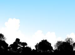 woodland treetops - stock illustration