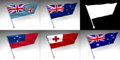 Five Oceania flags on a pole Stock Illustration