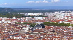 Pan across the city of Lyon France Stock Footage