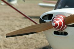 Wooden plane propeller - stock photo