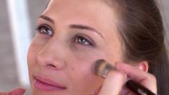 Model makeup behind the scene Stock Footage