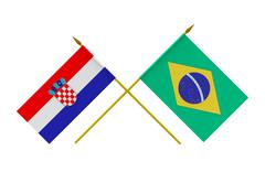 Stock Illustration of flags, brazil and croatia