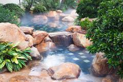 Foggy water pool feature Stock Photos