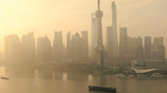 SWFC Shanghai Tower pollution Huangpu River China Stock Footage