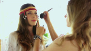 Slavic model makeup behind the scene Stock Footage