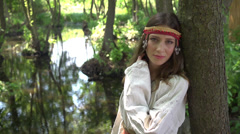 Slavic beautiful young girl in nature Stock Footage