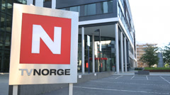 TVNorge Norwegian Broadcast Company main entrance Stock Footage