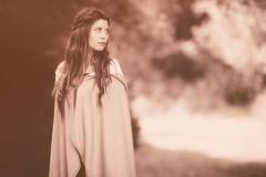 woman in cloak - stock photo
