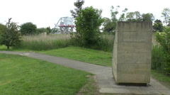 Glider marker beside the Caen Canal (Pegasus) Bridge, Normandy France. Stock Footage