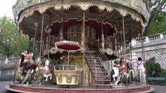 People in Paris old town vintage carousel. MAY 25, 2014 in Paris, France Stock Footage