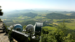 View from tower of meteorological observatory with many parabolic satelites Stock Footage