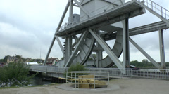 The new Caen Canal (Pegasus) (rolling lift) Bridge, Normandy France. Stock Footage