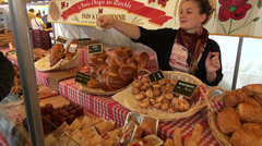 French gourmet bread market in Paris, MAY 25, 2014 in Paris, France Stock Footage