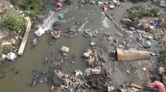 Catastrophic water pollution in asia river, Katmandu, Nepal Stock Footage