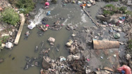 Stock Video Footage of catastrophic water pollution in asia river, Katmandu, Nepal