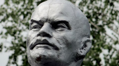 old shabby face of the monument (Lenin) - stock footage