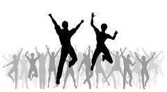 Jumping celebration Stock Illustration