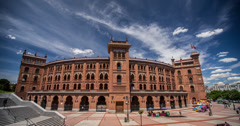 4K Day time lapse of the Plaza De Toros de Las Ventas bullring in Madrid, Spain Stock Footage