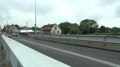 Pan across the Pegasus Bridge towards Cafe Gondree, Normandy France. Stock Footage