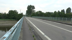 Pan from the Orne River Bridge towards the river, Normandy, France. Stock Footage