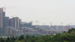 Tower crane of construction site , xi'an,shaanxi, China Stock Footage