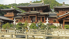 Time lapse of chi lin nunnery Stock Footage