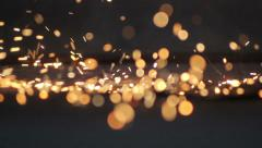 Falling pieces of of molten metal Stock Footage
