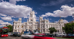 4K Day time lapse of the Palace of Cibeles building in Madrid, Spain Stock Footage