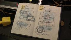 East German passport, Mémorial de Caen (Caen Memorial), Normandy, France. Stock Footage