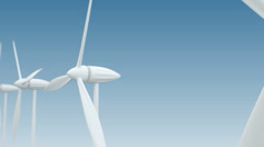 Row of wind power generators on blue background Stock Footage