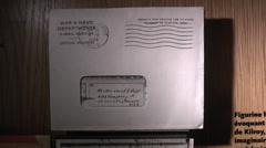 V-Mail envelope, Mémorial de Caen (Caen Memorial) museum, Normandy, France. Stock Footage