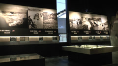 D-Day display inside the Mémorial de Caen (Caen Memorial), Normandy, France. Stock Footage