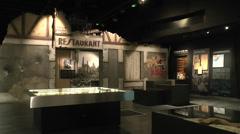 Street recreation inside the Mémorial de Caen museum, Normandy, France. Stock Footage