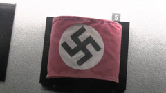 Swastika armband, Mémorial de Caen (Caen Memorial) museum, Normandy, France. Stock Footage