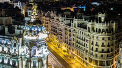 Close up time lapse of Madrid Skyline and the Edificio Metropolis, Spain Stock Footage