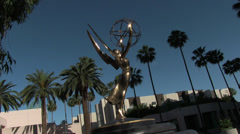 Emmy Statue Wide Shot Palm Trees Stock Footage