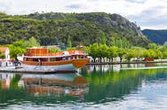 Stock Photo of touristic boat in skradin, croatia