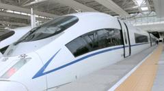 TGV Bullet trains HSR Shanghai Hongqiao Railway Station China - stock footage