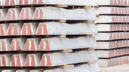 Pile of railway concrete sleeper. Stock Photos