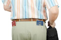 Stock Photo of tourist holding israeli and russian passports in rear pockets