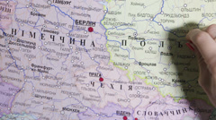 Marks on map, Russian version of map Stock Footage