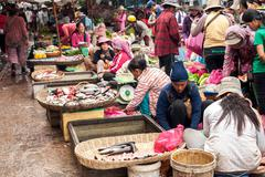 Khmer people shopping at traditional local marketplace Stock Photos