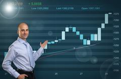 businessman showing stock market graph - stock illustration