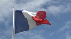 Stock Video Footage of French flag blowing in the wind.