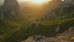 Meteora at sunset. Greece Stock Footage