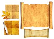 Stock Illustration of Set of ancient scrolls
