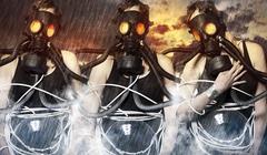 three women wearing gas masks on apocalyptic background - stock illustration
