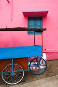 bright colors of indian street life. colorful composition - stock photo